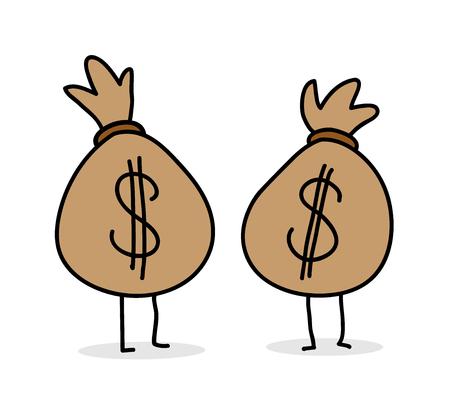 money bags: Money Bags Dollar, a hand drawn vector illustration of dollar money bags cartoon editable. Illustration