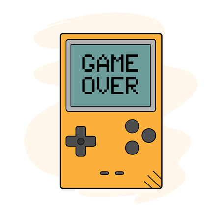 portable console: Game Over, a hand drawn vector illustration of a handheld gaming device with GAME OVER shows up on the screen editable.