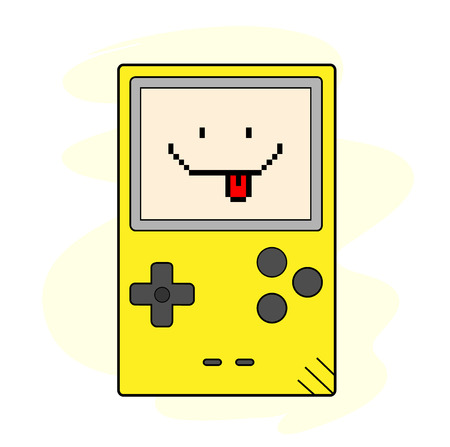 handheld device: Happy Gaming, a hand drawn vector illustration of a handheld gaming device, the text, game device, and background are on separate groups for easy editing.