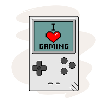 handheld device: I Love Gaming, a hand drawn vector illustration of a handheld gaming device, the text, game device, and background are on separate groups for easy editing.