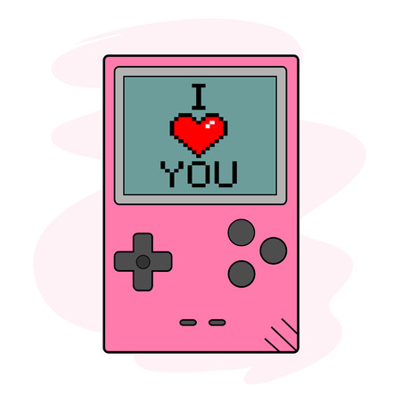 handheld device: I Love You, a hand drawn vector illustration of a handheld gaming device, the text, game device, and background are on separate groups for easy editing.