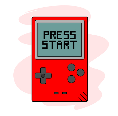 Press Start, a hand drawn vector illustration of a handheld gaming device, the text, game device, and background are on separate groups for easy editing.