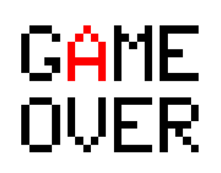 over: Game Over, a vector illustration of 8-bit style font of Game Over text.
