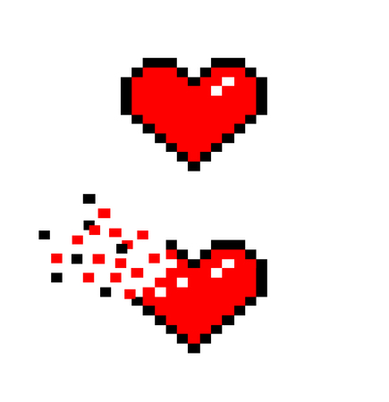 heart failure: Heart Icons, a vector illustration of heart icons in retro 8-bit style.