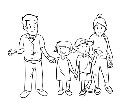 happy family: Happy Family Doodle, a hand drawn vector doodle illustration of a happy family.