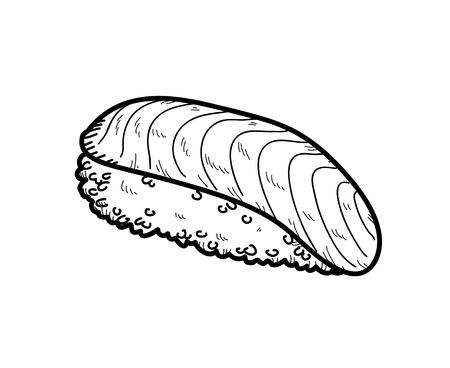 サーモン寿司、サーモン寿司 (にぎり酒) の手描きベクトル落書きイラスト落書き。