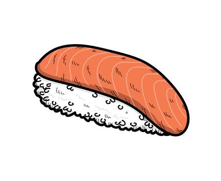 サーモン寿司、サーモン寿司 (にぎり酒) の手描きのベクトル図です。