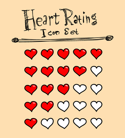 rating: Heart Rating Icons, a hand drawn vector illustration of heart icons used for rating purposes.