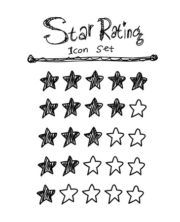 star rating: Star Rating Icon Set, a hand drawn vector doodle illustration of star icons for rating purposes.