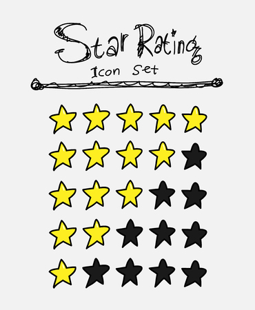star rating: Star Rating Icons, a hand drawn vector illustration of star icons for rating purposes. Illustration