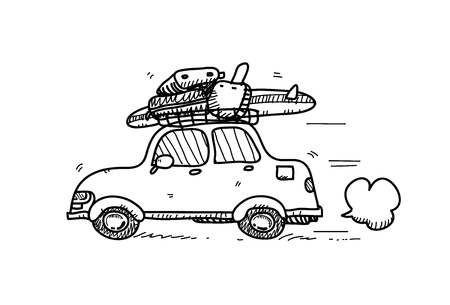 car lots: Car Doodle, a hand drawn vector doodle illustration of a car with lots of luggage and a surfboard on top of it.