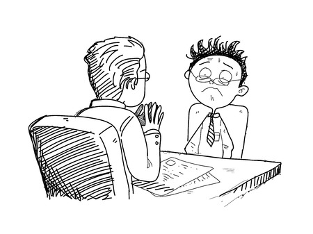 seeker: Job Interview, a hand drawn vector doodle illustration of a job seeker being interviewed by the employer.