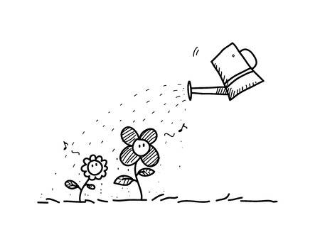 tending: Flower Care, a hand drawn vector doodle illustration of cute flowers being watered. Illustration
