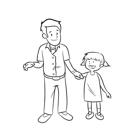 fatherhood: Fatherhood Doodle, a hand drawn vector doodle illustration of a father and a daughter holding hands. Illustration