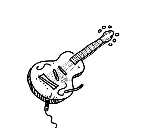 Jazz guitar doodle, hand drawn vector doodle of electric jazz guitar doodle. 矢量图像