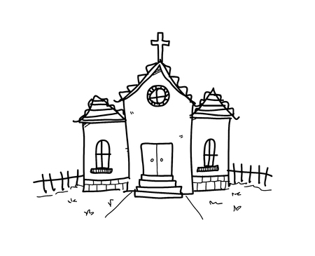 Church Doodle, a hand drawn vector doodle illustration of a church.