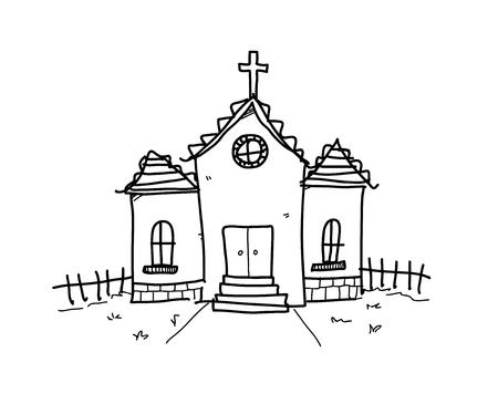 Kirche Gekritzel, eine Hand gezeichnet Vektor Doodle Illustration einer Kirche.