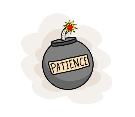paciencia: La paciencia, un ejemplo del vector dibujado a mano del concepto de la paciencia imaginario representado por una bomba encendida que produce una explosión en una cuestión de tiempo (editable).