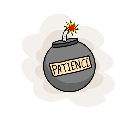 matter: Patience, a hand drawn vector illustration of patience concept imagery depicted by a lit bomb that will explode in a matter of time (editable). Illustration