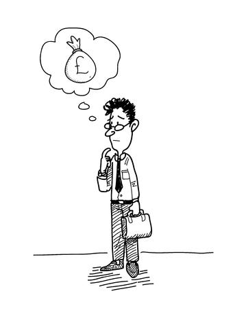 libra esterlina: Negocios que se pregunta sobre el dinero (libra esterlina), un ejemplo del vector dibujado a mano de un hombre de negocios imaginando que su ganancia.