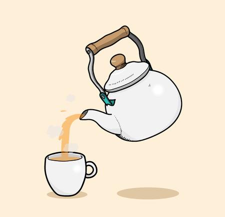 Servir un thé, une illustration de vecteur tiré par la main de l'acte de verser un thé chaud dans une tasse de thé (fond modifiable et ombres).