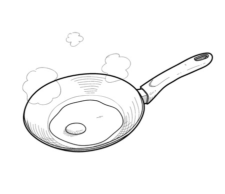 fried egg: Cooking Fried Egg Doodle, a hand drawn vector doodle illustration of cooking a sunny side up egg on a cooking pan.