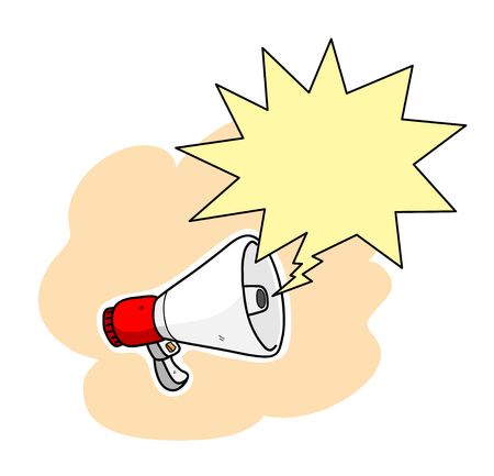 Megaphone With Blank Text Bubble, a hand drawn vector illustration of a megaphone, the megaphone, text bubble,white outline, and the simple background are on separate groups for easy editing. Stock Illustratie