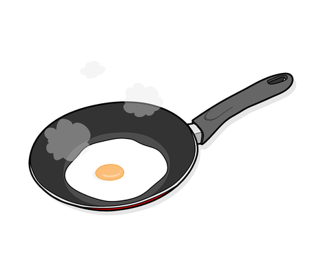 sunny side up: Cooking Fried Egg, a hand drawn vector illustration of cooking a sunny side up egg on a cooking pan (editable smoke and shadow backdrop).