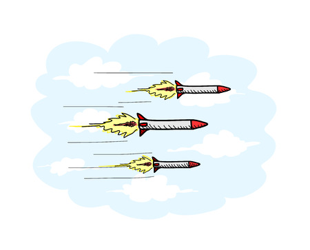 Airborne Missiles, a hand drawn vector illustration of airborne missiles, the missiles, clouds, and the light blue background are on separate groups for easy editing.