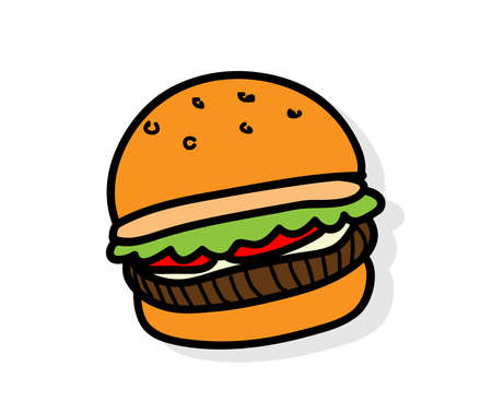 Burger doodle vector icon, hand drawn vector of a hamburger, isolated on white background
