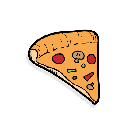 light shadow: Pizza, a hand drawn vector illustration of pizza with a light shadow backdrop (editable). Illustration
