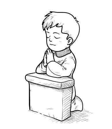 Praying Doodle, a hand drawn vector doodle illustration of a praying little kid.