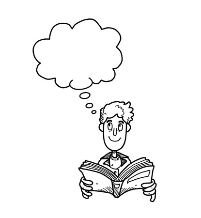 imagining: Reading Book Doodle, a hand drawn vector doodle illustration of a guy reading a book while his imagining about something.