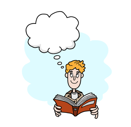 narration: Reading A Book, a hand drawn vector illustration of a guy reading a book while imagining things, the main object, narration bubble, and the simple background are on separate groups for easy editing. Illustration