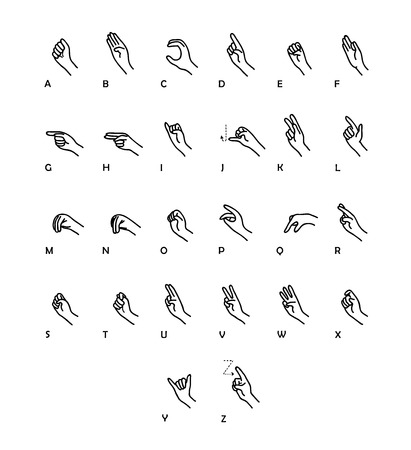 sign language: Sign Language Vector Set, a hand drawn vector set illustration of hand sign language, isolated on a white background. Illustration