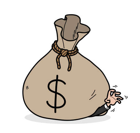 Greed concept, hand drawn vector cartoon of a businessman get stuck in a big bag of money with dollar symbol