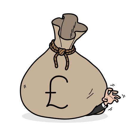 Greed concept, hand drawn vector cartoon of a businessman get stuck in a big bag of money with Pound sterling symbol Vector Illustratie