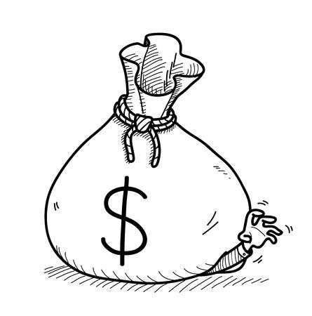 Greed Doodle (Dollar), une illustration vecteur doodle tirée par la main d'un gros sac d'argent sur le dessus d'un homme d'affaires avide.