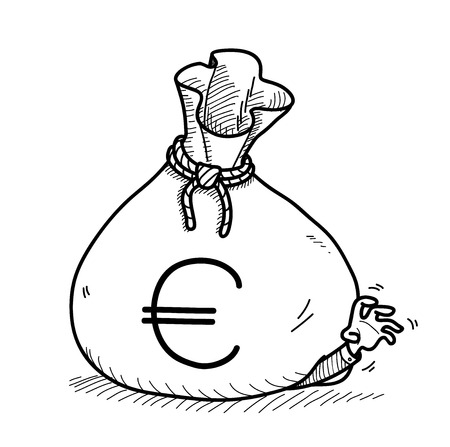 greedy: Greedy Doodle, a hand drawn vector doodle illustration of a big money bag on top of a greedy businessman.