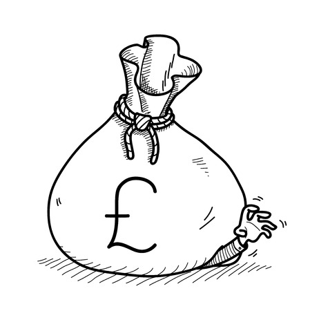 greedy: Greedy Businessman Doodle, a hand drawn vector doodle illustration of a big money bag on top of a greedy businessman. Illustration