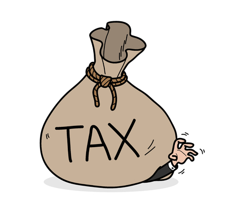 Tax, a hand drawn vector illustration of a businessman got trouble from an overwhelming tax bill.