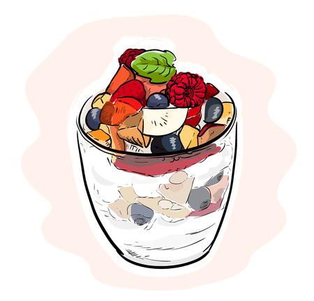 parfait: Fruit Parfait, a hand drawn vector illustration of a fruit parfait, isolated on a simple background (editable).