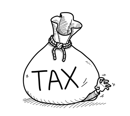 overwhelming: Tax Doodle, a hand drawn vector doodle illustration of a businessman got trouble from an overwhelming tax bill.