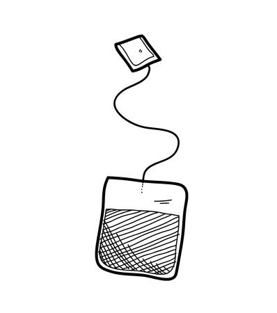 tea bag: Tea Bag Doodle, a hand drawn vector doodle illustration of a tea bag. Illustration