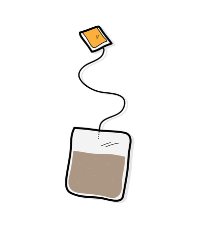 tea bag: Tea Bag, a hand drawn vector illustration of a tea bag.