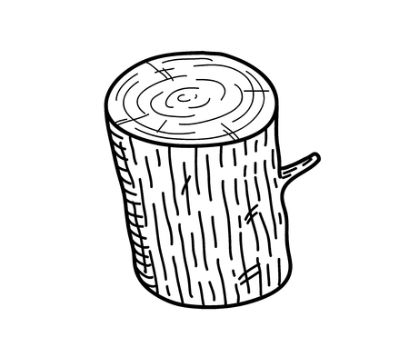 wood log: Wood Log Doodle, a hand drawn vector doodle illustration of a wood log.