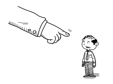 scolded: Business Role Doodle, a hand drawn vector doodle illustration of a white collar worker being pointed at by his boss. Illustration