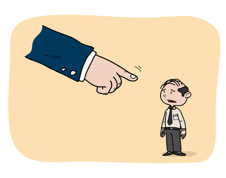 scolded: Business Role, a hand drawn vector illustration of a white collar worker being pointed at by his boss, isolated on a simple background (editable).
