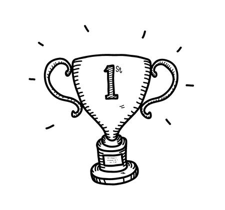 Gold Trophy Doodle, a hand drawn vector doodle illustration of a gold trophy for the first position winner. Vektorové ilustrace