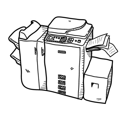 copy machine: Copy Machine Doodle, a hand drawn vector doodle illustration of a copy machine.